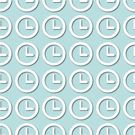 White clock face, dial on pale blue, turquoise background, seamless pattern. Paper cut style with drop shadows and highligts. Vector illustration.