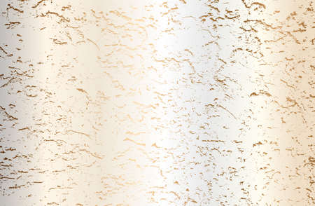 Luxury perl, golden metal gradient background with distressed cracked concrete texture. Vector illustration