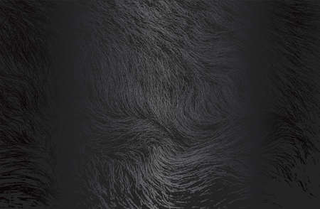 Luxury black metal gradient background with distressed wild animal fur texture. Vector illustration