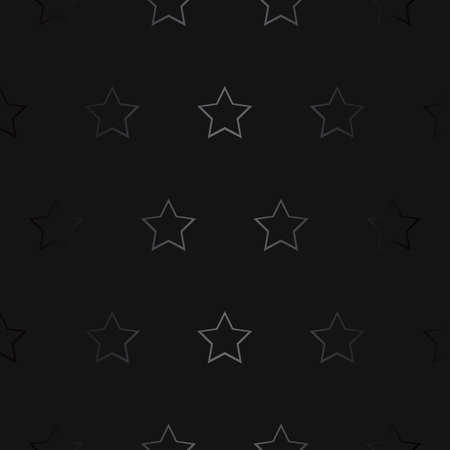 Luxury black metal gradient gray background with geometric seamless pattern, stars.