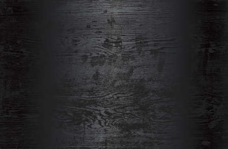 Luxury black metal gradient background with distressed wooden parquet texture. Vector illustration Standard-Bild