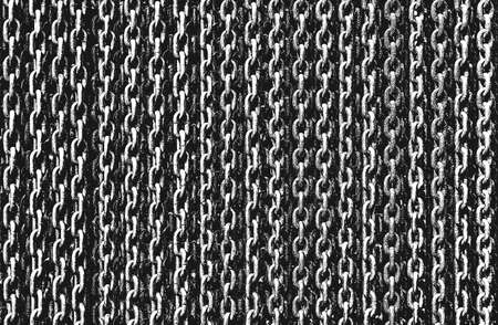 Distressed overlay texture of rusted peeled metal chain. grunge background. abstract halftone vector illustration
