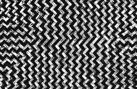 Distressed overlay texture of weaving fabric with zigzag ornament. grunge background. abstract halftone vector illustration Archivio Fotografico
