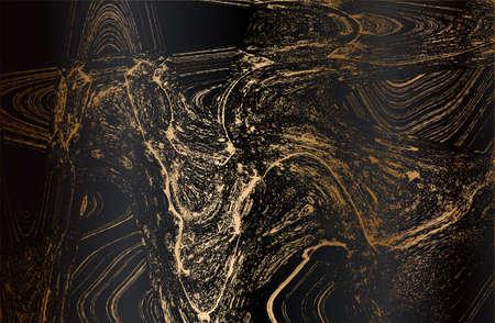 Luxury abstract fluid art. black, golden marble texture. metal gradient background. Vector illustration Archivio Fotografico