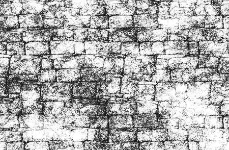 Distressed overlay texture of old brick wall, grunge background. Archivio Fotografico