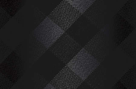 Luxury black metal gradient background with distressed fabric, textile, tartan texture. Vector illustration