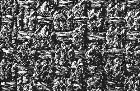 Distressed overlay wicker vine texture. grunge black and white background. abstract halftone vector illustration Illustration
