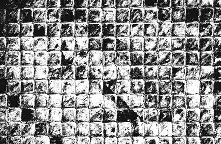 Distressed overlay texture of ceramic tiles, mosaic, paving stones with ornament. grunge background. abstract halftone vector illustration. Standard-Bild