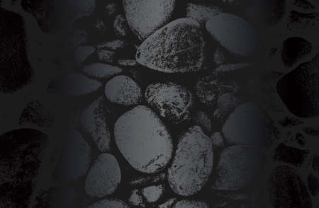 Luxury black metal gradient background with distressed stones, rocks, pebbles, macadam texture. Vector illustration Standard-Bild