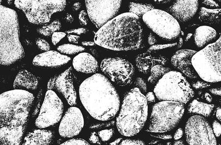 Distressed overlay texture of stones, rocks, pebbles, macadam. grunge background. abstract halftone vector illustration