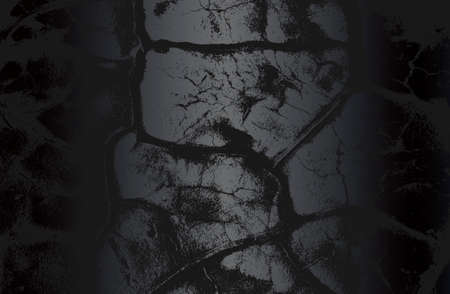 Luxury black metal gradient background with distressed cracked concrete texture. Vector illustration