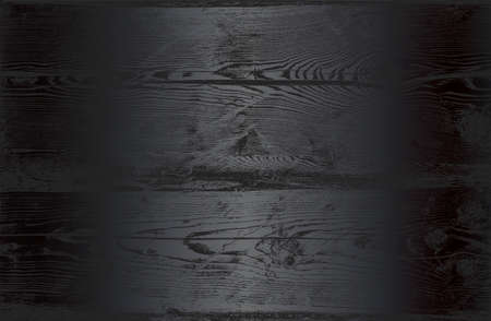 Luxury black metal gradient background with distressed wooden parquet texture. Vector illustration Standard-Bild