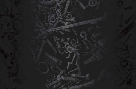 Luxury black metal gradient background with distressed metal plate texture, bolts, pins. Vector illustration Standard-Bild