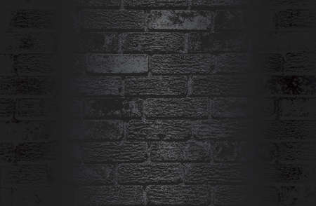 Luxury black metal gradient background with distressed brick wall texture. Vector illustration