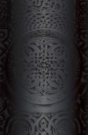 Luxury black metal gradient background with distressed concrete ornament, pattern texture. Vector illustration