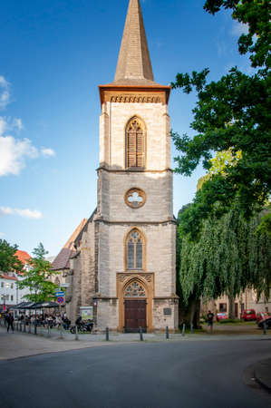 BIELEFELD, GERMANY. JUNE 12, 2021. Beautiful view of small german town with typical architecture. Cathedral chirch on the square.