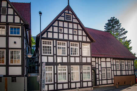 BUNDE, GERMANY. JUNE 12, 2021. Beautiful view of small german town with typical architecture. Fachwerk style, Prussian wall.