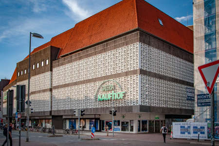 HANNOVER, GERMANY. JUNE 19, 2021. Kaufhof Galeria facade. Beautiful view to a square