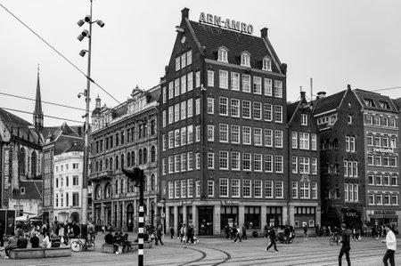 AMSTERDAM, NETHERLANDS. JUNE 06, 2021. Dam Square. Abn Amro facade. Beautifull view of the city Редакционное