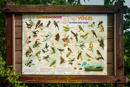 VERSMOLD, GERMANY. JUNE 20, 2021 Campingpark Sonnensee. Desk with information about birds living in the park