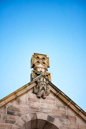 AACHEN, GERMANY. OCTOBER 04, 2020. Aachen cathedral. Statues of a mythic creatures on the roof. Ghotic architecture