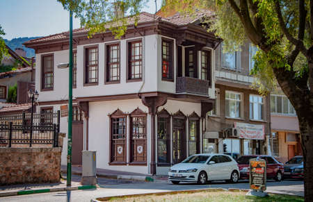 BURSA, TURKEY. AUGUST 15, 2021. Street view, buildings in traditional style Turkish architecture Фото со стока