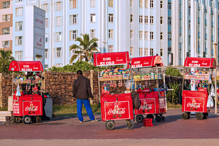 kwazulu natal: DURBAN, SOUTH AFRICA - APRIL 16, 2016: Mobile Street Vendor Carts on The Golden Mile promenade Editorial