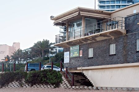 grannies: DURBAN, SOUTH AFRICA - JULY 09, 2016: The Grannies Pool lifesavers station on the Umhlanga Rocks beach
