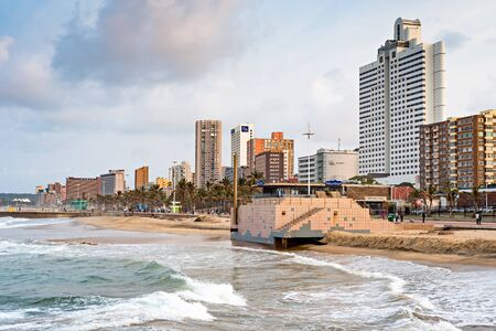 DURBAN, SOUTH AFRICA - AUGUST 17, 2015: The Golden Mile promenade from the pier at North Beach Editorial