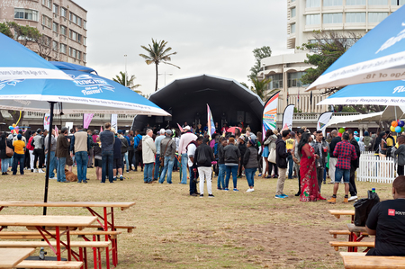 trans gender: DURBAN, SOUTH AFRICA - JULY 23, 2016: Gay Pride celebration and parade at North Beach