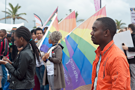 transexual: DURBAN, SOUTH AFRICA - JULY 23, 2016: Gay Pride celebration and parade at North Beach