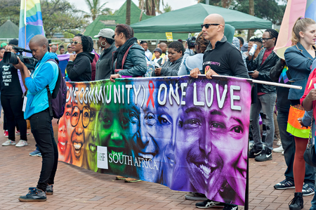 gay pride: DURBAN, SOUTH AFRICA - JULY 23, 2016: Gay Pride celebration and parade at North Beach