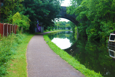 Birmingham canal pathway with the over arching bridge