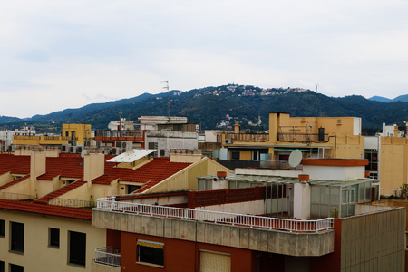 The roof top with mountain in view in Spain Stock Photo