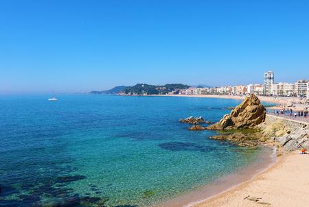 lloret de mar spain rock on beach Stock Photo