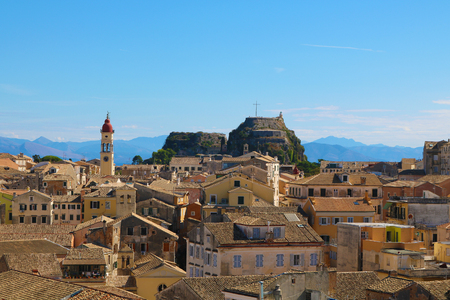 Old town corfu Greece old fortress Stock Photo