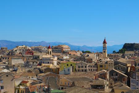 Old town Corfu city rooof tops