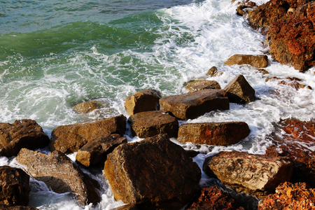 Rock by the sea in spain Stock Photo