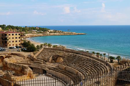 Tarragona colosseum and island Stock Photo