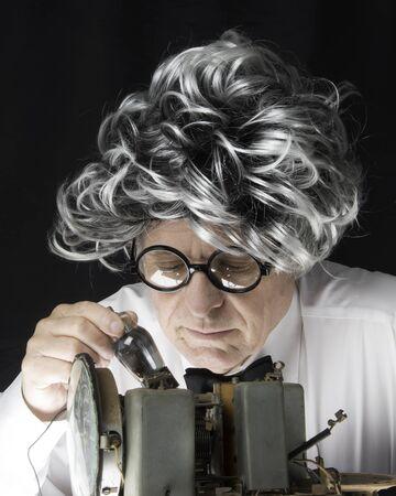 Man working on an old radio Stok Fotoğraf