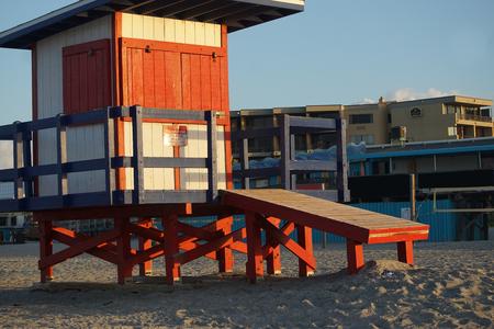 cocoa beach: Old wooden lifeguard house at Cocoa Beach
