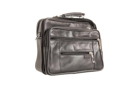 valise: black leather valise isolated on white background