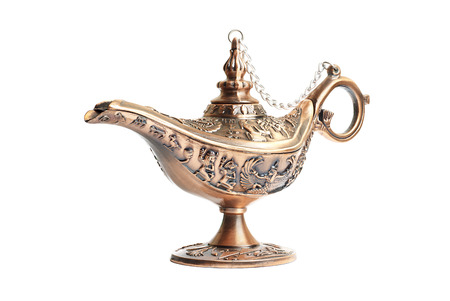 desire: Aladdin magic lamp isolated on white