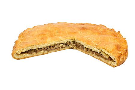 crust: A savoury meat pie with a golden crust studio isolated