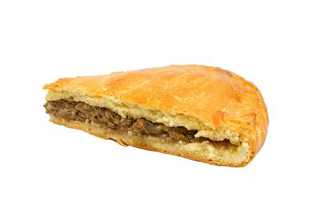 meat pie: A savoury meat pie with a golden crust studio isolated