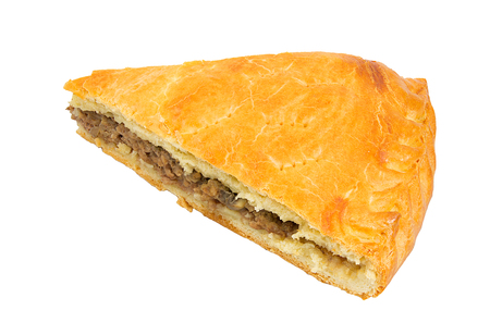 savoury: A savoury meat pie with a golden crust studio isolated