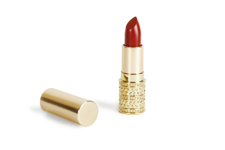 the lipstick: red lipstick isolated on white background Stock Photo