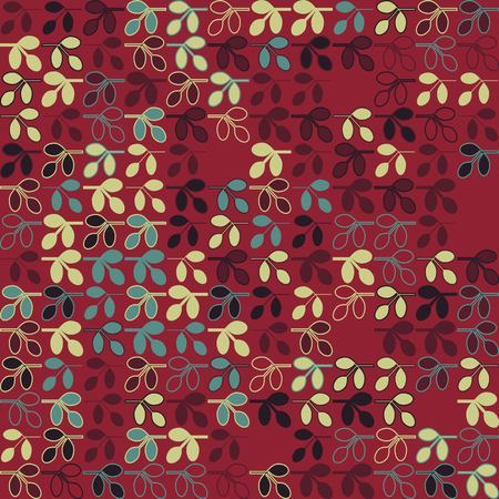 Seamless floral pattern with colored elements, vector abstract background