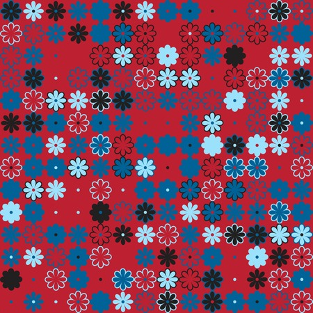 Floral pattern with colored elements, vector abstract background 向量圖像