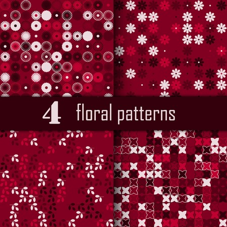 Set of four seamless floral pattern with colored elements, vector abstract background, colorful floral background
